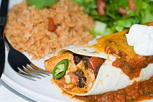 Bean and Chicken Enchiladas